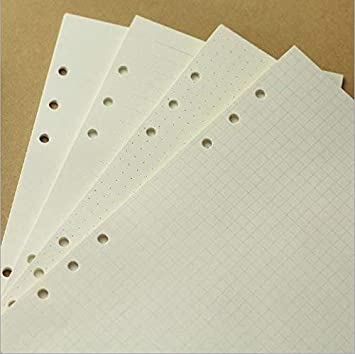 A5 Refill Paper 6 Hole Dotted//Ruled//Blank//Square Grid Mixed 6-Ring Binder Planner Refill Paper for Filofax Journals Notebooks Diaries Inserts Refill Paper