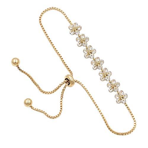 Sparkling Cubic Zirconia Floral Crystal Allure Zircon Flower Bracelets With Adjustable Slide Bead For Women,Champagne Gold
