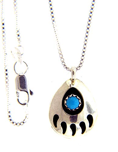 By Navajo Artist Gaynell Parker: Shadow Box Sterling-silver & Tourquoise Bear Paw Pendant-necklace