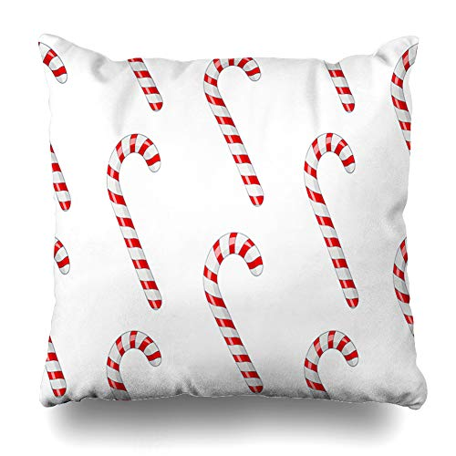 Ahawoso Throw Pillow Cover Food Pattern Candy Canes Red White Striped Drink Celebration Christmas Dessert Holiday Lollipop Decorative Zipper Cushion Case Square 18
