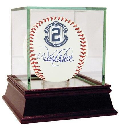 Derek Jeter Autographed Retirement Logo MLB Game Baseball With A Glass Display (Steiner Derek Jeter Signature Baseball)