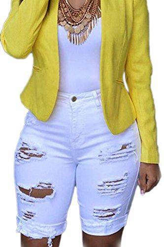 Pantaloncini In Casual Denim Strappati Zojuyozio Taglie Vita Jeans Da Con A Donna Di Alta Forti White wIzzRd