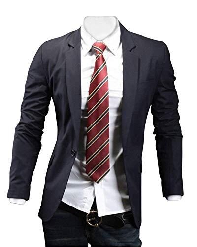 Sleeve Long Abbigliamento Navy Blazer Leisure Men Lapel Casual Business Suit Adelina Fit Giacca Uomo Slim Elegante Stylish a7OR0CqCw