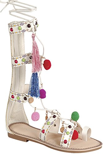 Wrap Around Zipper (FOREVER LINK FAUX LEATHER ONE TOE POM POM ACCENT BACK ZIPPER WRAP AROUND LACE KNEE HIGH SANDAL 7 white)