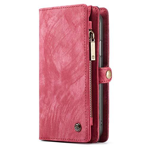 Case Compatible iPhone Xs, Leather Wallet Phone Case Flip Cover Detachable Case Red