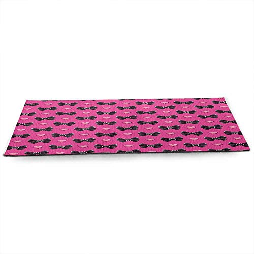 funkky Pearls Eco Friendly Yoga Mat Bow Ties with Hearts Feminine Love Valentines Day Romantic Theme Dotted Background for Joint Health and Physical Therapy W24 x L70 Pink Black