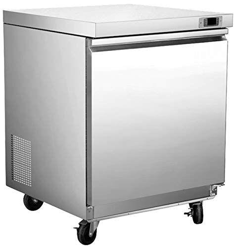 Chef's Exclusive CE342 One 1 Single Solid Door Commercial Heavy Duty Stainless Steel Undercounter Refrigerator Cooler 6.7 Cubic Feet with Environmentally Friendly Refrigerant, 29