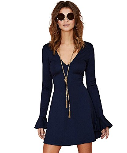 kdhjjoly-comfortable-womens-solid-v-neck-flare-sleeve-backless-a-line-mini-dress-effective-shipment