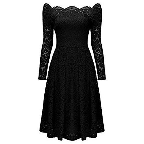 descubiertos AIMEE7 manga hombros noche coctel de Negro fiesta mujeres fiesta Vestido vestido la vestido escote de vestido de de vestido las formal larga elegante mujer de vendimia xrEU6r