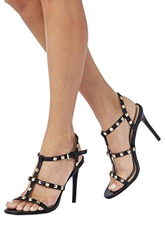 next Mujer Sandalias con tachuelas White & Plum Stripe