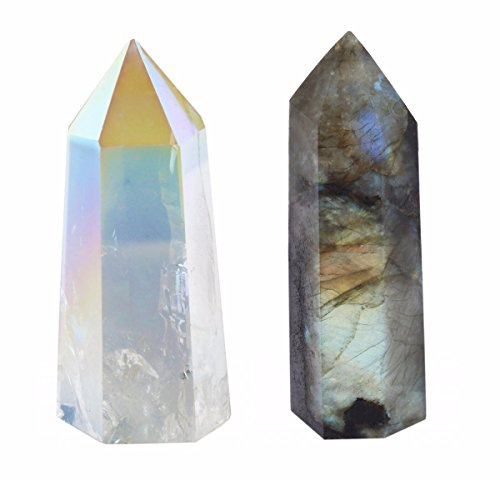 SUNYIK Angel Aura Quartz/Labradorite Self Standing 6 Facet Single Point Figurine Sphere Pack of 2