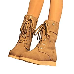 Amazon.com : DIDIDD Lady Snow Boots Lace up Flat Heel