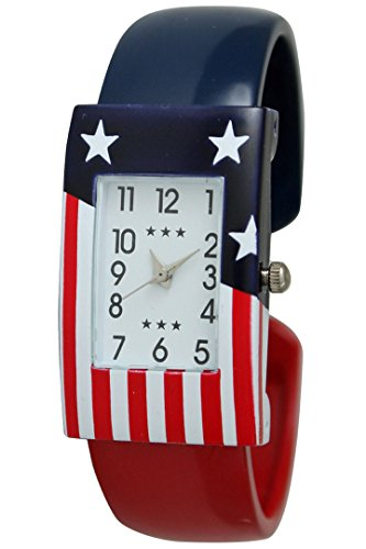 July Fourth Independence Day American United State Flag Bangle Watch with Rectangular Watch Face (Ladies State Watch White)