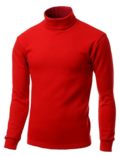 Men Double long sleeve layer Turtleneck Top RED size XL