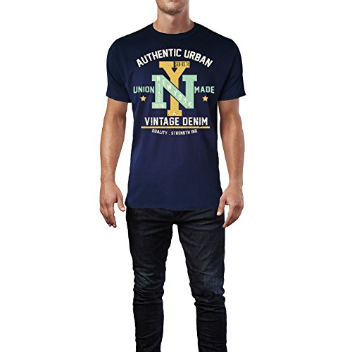 Sinus Art ® Herren T Shirt Vintage Garments Denim ( Navy ) Crewneck Tee with Frontartwork