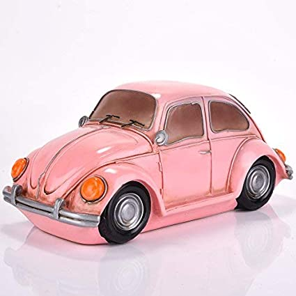 Amazlab Kids Bedroom Decoration, Powered by USB or Batteries, with 4 Hour Timer Pink Vintage Beetle Car Shaped Table Night Lamp Beetle-Pink