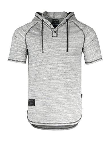 ZIMEGO Short Sleeve Raglan Hooded Henley Round Bottom Activewear Fashion Hoodie,Space Gray,Small