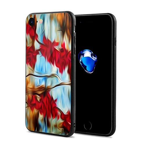 iPhone 8/8s Case Flower Abstract Painting Anti-Scratch PC Rubber Cover Lightweight Soft Slim Printed Protective Case