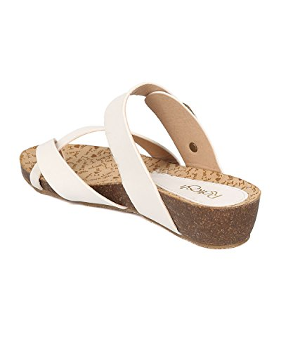 Toe Women Strap White Alrisco Wedge HA52 Sandal Low by Instep Casual Leatherette Split Leatherette RWYqd7qH8c