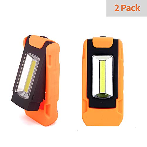 (2 Pack LED Work Light, 200 Lum Multi-use COB Flashlight, Magnetic Base & Hanging Buckle, Battery-Operated Daylight,120°Beam Angle Flood Light, for Car Repairing, Blackout and Emergency)