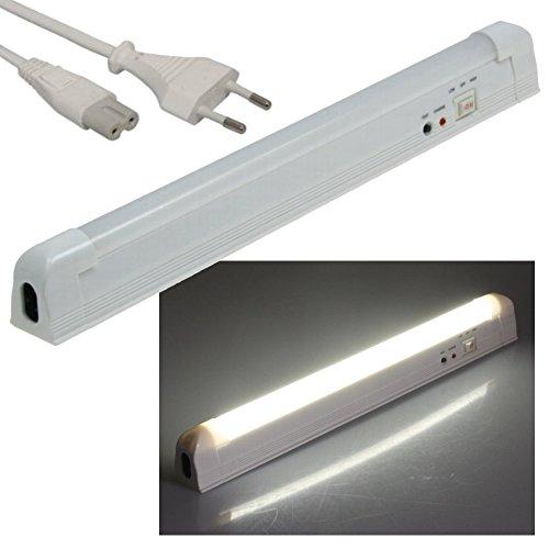LED Akku Notleuchte mit Netzkabel 230V - 2W 200lm - 300mm - Wand oder Deckenmontage - kaltweiß (6000 K)