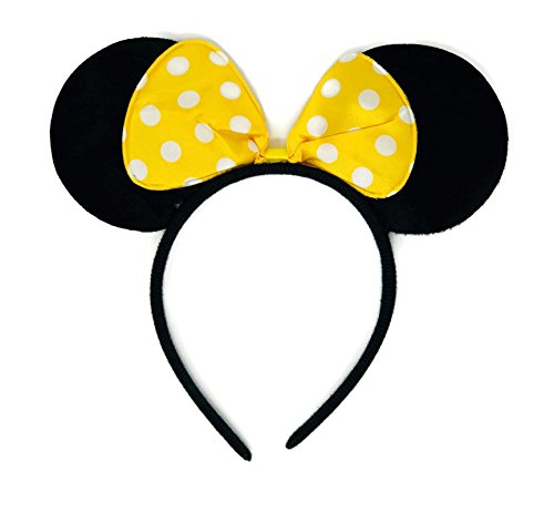 Rush Dance Cute Mouse Shaped Birthday Party Favor Bow Accessories Headband (Yellow with White Polka Dots)