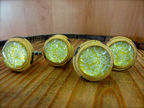 4 Yellow-White LACE Glass Drawer Cabinet PULLS KNOBS Vintage Distressed Hardware Distressed Antique Brass Cup Pulls