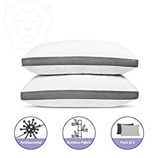 2 Pack Shredded Gel Memory Foam Pillow Antibacterial Silver Infused Bamboo Washable Cover Pillows for Sleeping Cooling Breathable Adjustable Pillow for Neck Support Side Stomach Back Sleeper… (Queen)