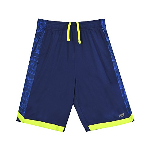 New Balance Boys Performance Short, Blue/Limeade ()