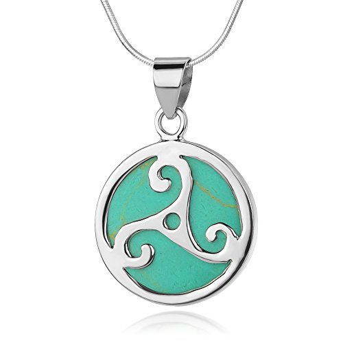 Sterling Silver Triple Spiral Triskele Triskelion Celtic Turquoise Round Pendant Necklace 18