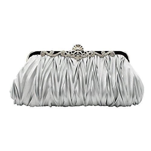 Shoulder Envelope Handbag Silver Party Dark Blue Evening For Cross Satin Package Single Women Voberry Y5Iwpqw