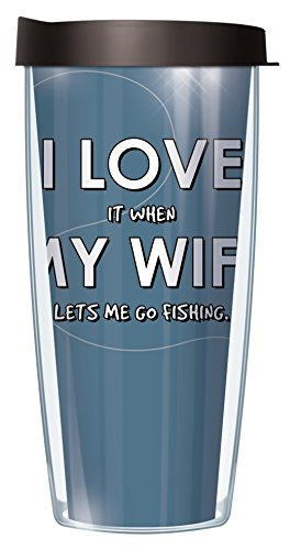 I Love When My Wife Lets Me Fish 22 Oz Traveler Tumbler Mug with Lid (Review For Marry Me Christmas)