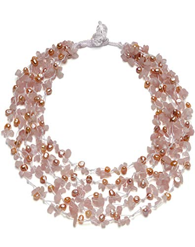 - HinsonGayle 'Gracie' 5-Strand Handwoven Pink Freshwater Cultured Pearl Rose Quartz Crystal Necklace-24 in length