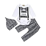 Sunbona 3pcs Set Outfits Infant Baby Boys Print Short Sleeve Blouse+Pants Clothes (0~6months, Style 1)
