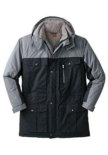 Big & Tall Colorblock Expedition Hooded Parka, Black Steel (Big And Tall Parkas)