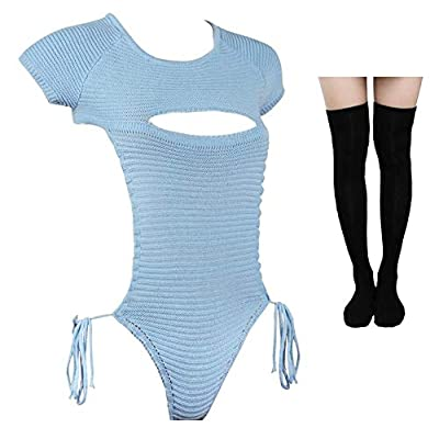 Japanese Kawaii Sweaters for Women Sexy Backless Hollow Out Anime Cosplay(LT-BU) Blue at Women's Clothing store