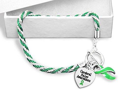 (Cerebral Palsy Green Ribbon Rope Bracelet)
