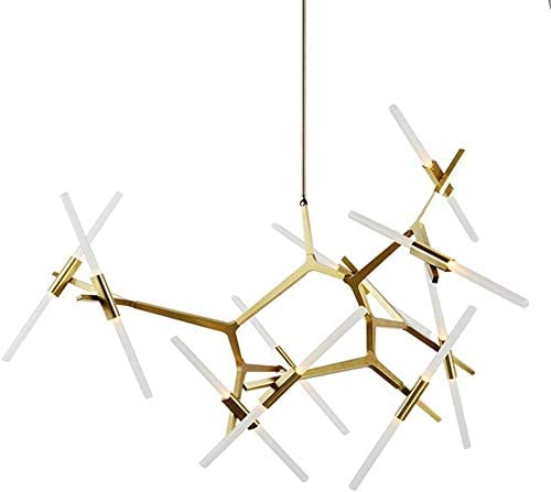 Industrial Chandelier Modern Metal Acrylic Branch Pendant Lamp Light Ceiling Fixtures for Living Room Dining Room Lighting 20-Light Gold