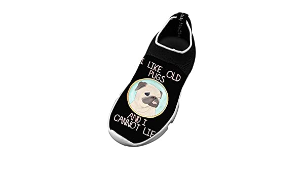 XieZbd Kids Cute Pug Cool Fly Knit Sneaker Shoes Leisure