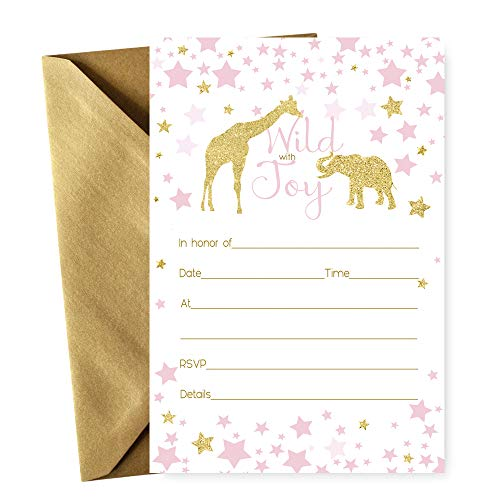 - Pink Jungle Animal Invitations with Gold Envelopes - Pack of 15