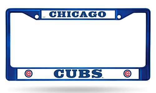 (Chicago Cubs Blue Bold Design Chrome Frame Metal License Plate Tag Cover Baseball )