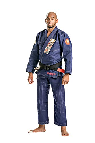 Ronin Oni Bushi Martial Arts Jiu-Jitsu Kimono Gi for BJJ Training (Navy, A1) (Japanese Martial Arts Patches)