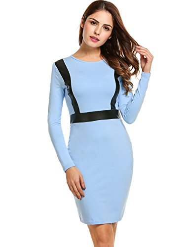 ANGVNS Sleeve Leather Stitching Bodycon