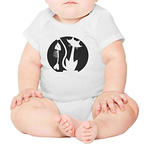 Unisex Baby Boy Girl Halloween cat Fish Bone Pattern Pumpkin Short-Sleeve Bodysuit for $<!--$22.50-->