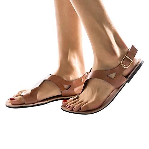 - Todaies Summer Shoes,Women Soft Gladiator Sandals Beach Casual Flat Sandals Beach Shoes (43, Brown)