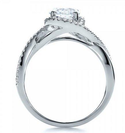Gowe Split Tige brillant 1,5ct Centre Lab Cultivées Diamant Bijoux en or massif 9K Or blanc Halo Bague de fiançailles Cadeau de mariage