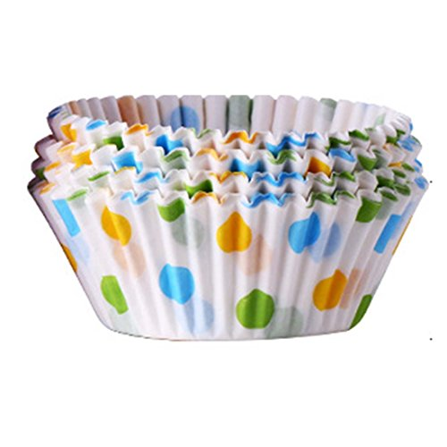 HBOS 100PCS Cupcake Wrappers Party Supplies Reversible Paper Favor Holder Cup Cake Liner Paper Cups