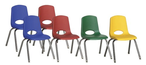 ECR4Kids 14'' Stack Chair, Chrome Legs with Nylon Swivel Glides, Set of 6, Assorted Colors by ECR4Kids