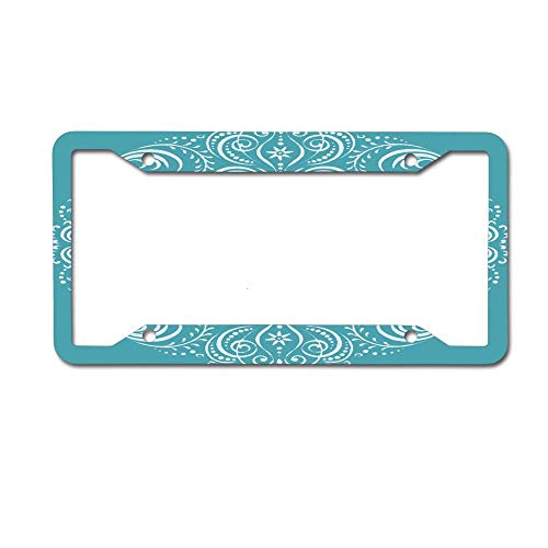 Jackie Prout ss Colorful Oriental Swirling Floral Pattern Abstract Fancy Filigree Modern Winter Beautiful Beauty License Plate Frame Aluminum Car Tag for US Canada Vehicles 4 Holes and Screws