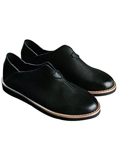 Cuir Main Chaussures Youlee Flâneurs Fait Noir Rétro Femmes AqOOzXBT